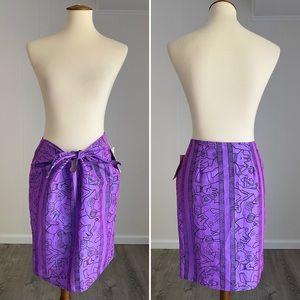 Awesome Vintage 90s Surf Skirt Batik Sarong Purple